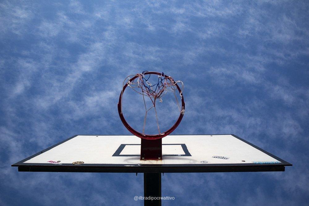 cesto da basket vcisto da sotto che si staglia su un cielo blu con sprazzi di nuvole bianche creando un curioso gioco di contrasto e geometrico con il cerchio del cesto e il quadrato del supporto
